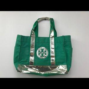 Tory Burch Green Silver Canvas Beach Tote Bag